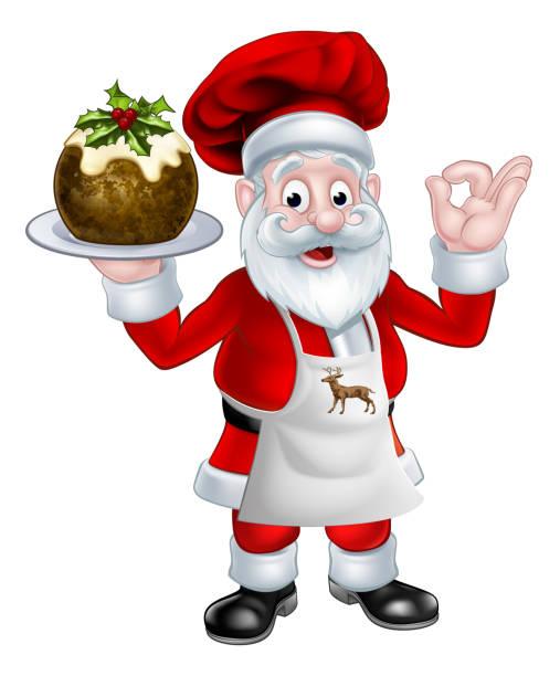 santa koch holding einen christmas pudding - pflaumenkuchen stock-grafiken, -clipart, -cartoons und -symbole