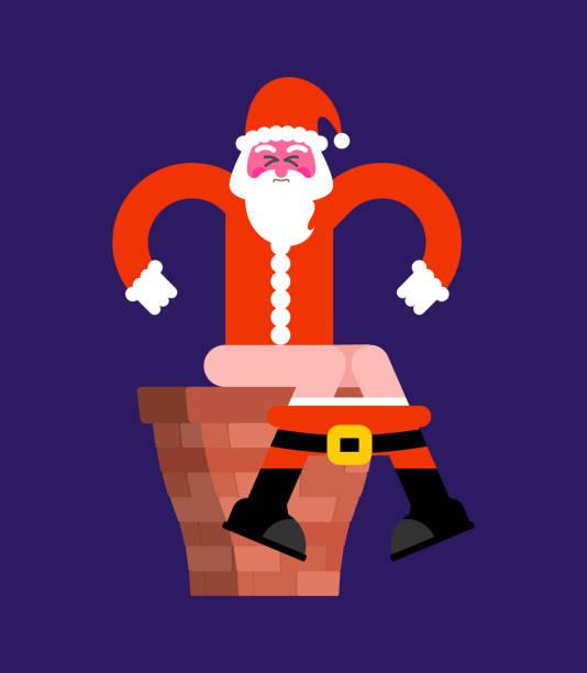 santa chimney scheiße auf toilette. schlechte weihnachten großvater ist im wc. weihnachten und neujahr-vector illustration - kaminverkleidungen stock-grafiken, -clipart, -cartoons und -symbole