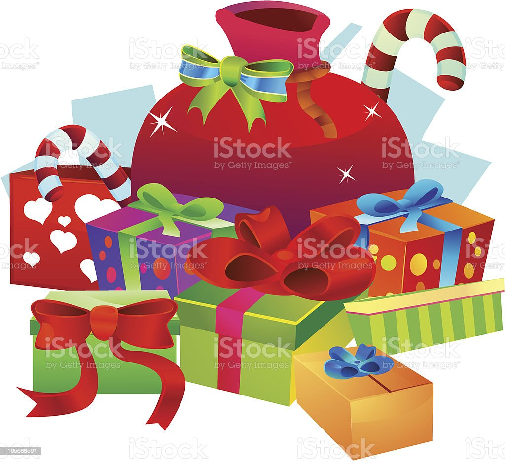 Santa Christmas Bag vector art illustration