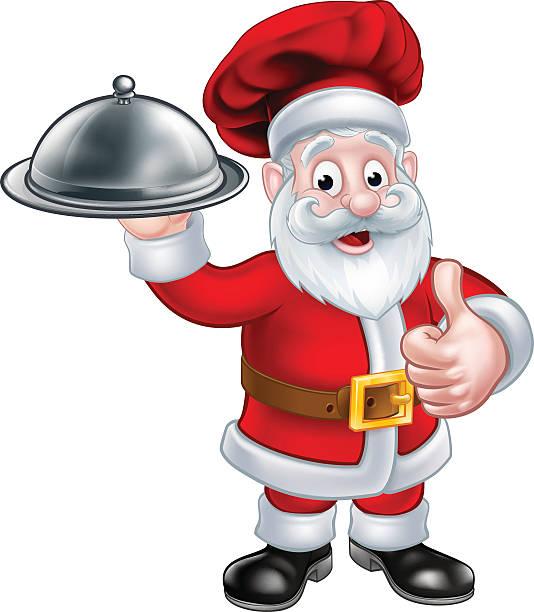 illustrazioni stock, clip art, cartoni animati e icone di tendenza di santa christmas chef holding plate of food - pranzo di natale