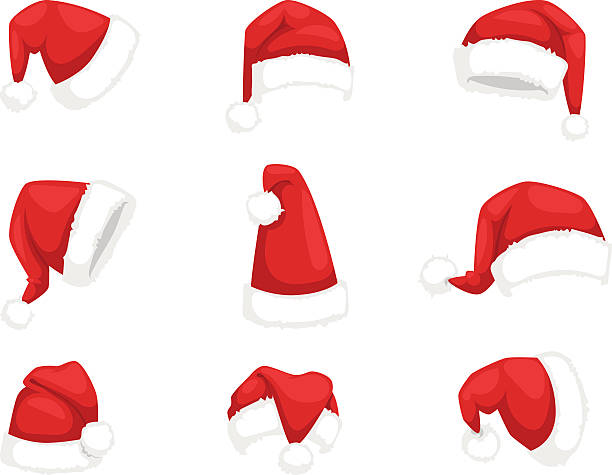 Santa christmas hat vector illustration. Just red christmas santa hat at white background. Cold x-mas symbol fluffy santa christmas hat. Winter white fluffy fur holiday santa christmas hat traditional snow fuzzy accessory. santa hat illustrations stock illustrations
