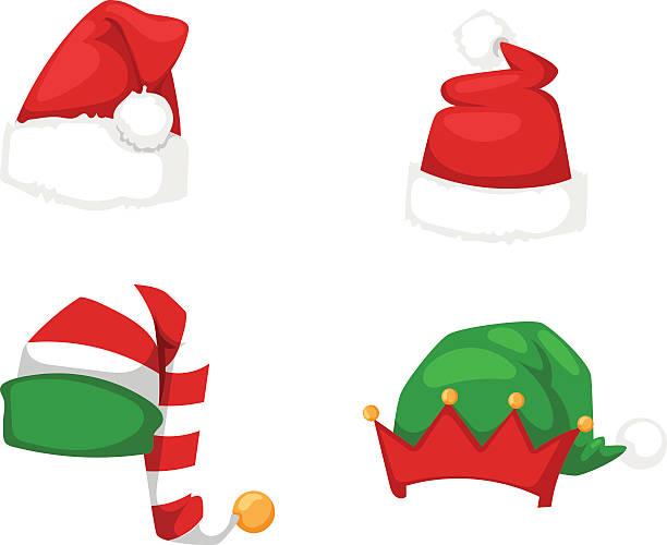 santa christmas hat vector illustration. - pelzmäntel stock-grafiken, -clipart, -cartoons und -symbole