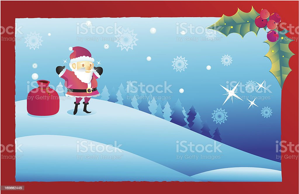 Santa Christmas Postcard vector art illustration