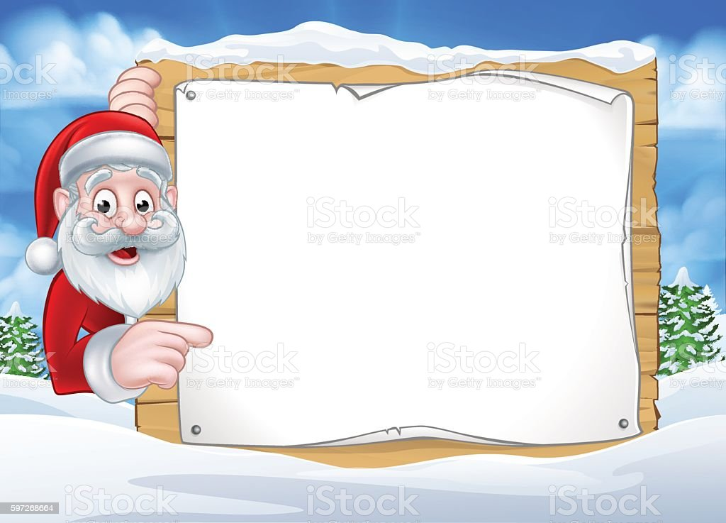 Santa Christmas Sign Background Lizenzfreies santa christmas sign background stock vektor art und mehr bilder von balkengerüst