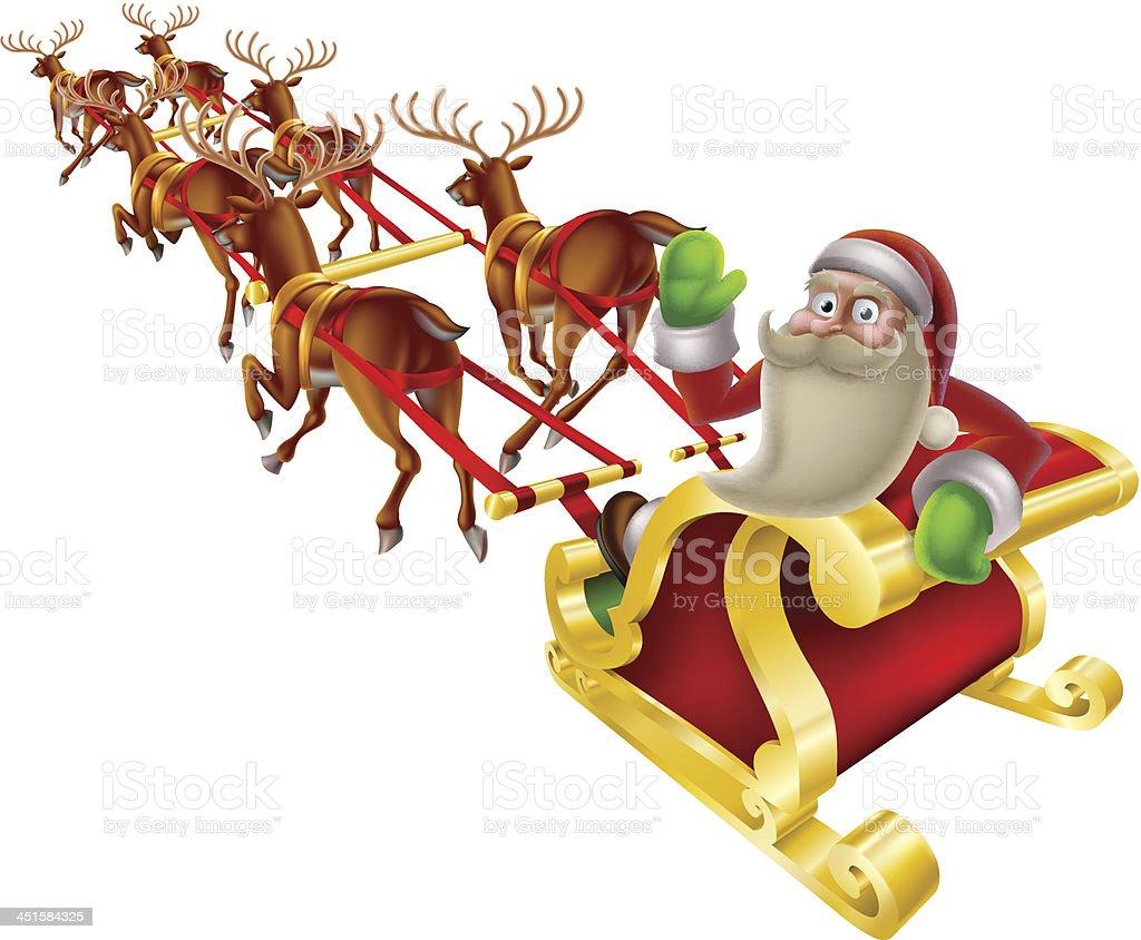 Santa Weihnachtsschlitten Stock Vektor Art und mehr Bilder von Comic ...
