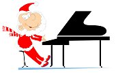 Santa Claus a pianist illustration