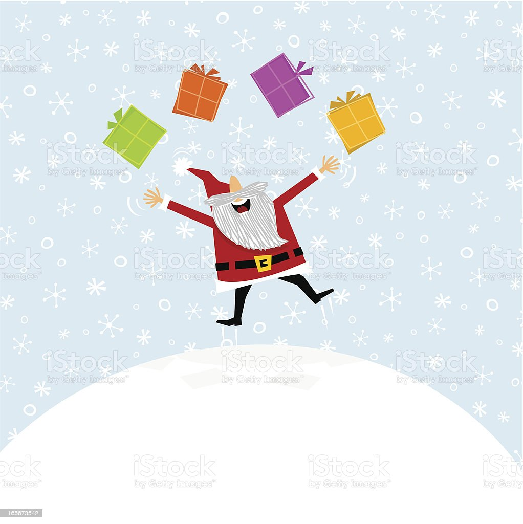 Santa Claus /  add the new year´s numbers on gifts royalty-free stock vector art