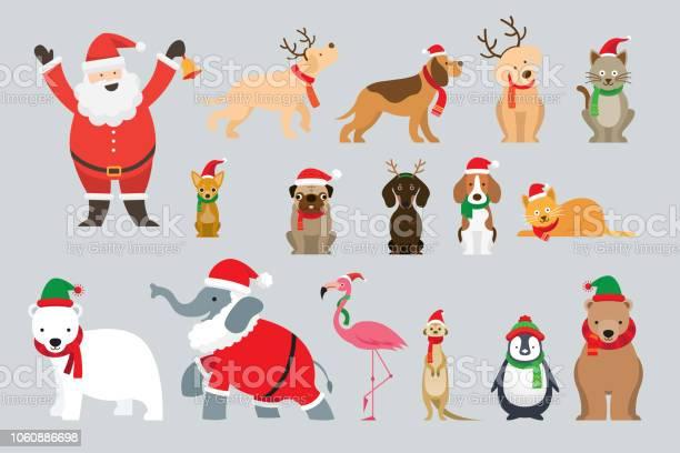 Santa claus and animals wearing christmas costume vector id1060886698?b=1&k=6&m=1060886698&s=612x612&h=9v ddzi5ybnvdn2ixyeq4sifdahumsyiubfcdxicnaa=