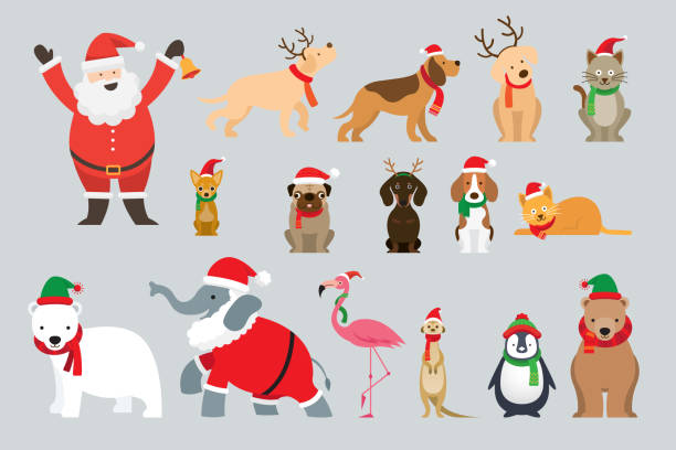 Santa Claus and Animals Wearing Christmas Costume Winter and New Year Celebration santa hat illustrations stock illustrations