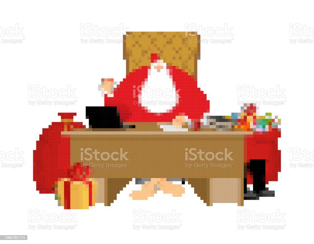 サンタ クロースとバッグのピクセル アート。新年のギフトと大きな赤い袋。クリスマス 8 ビット。ビデオ ゲーム古い学校のメリー クリスマス。 ベクターアートイラスト