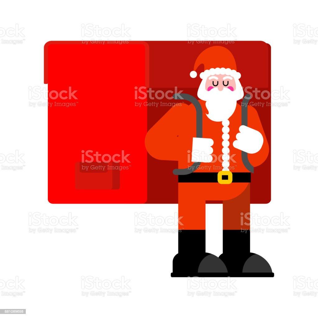 Santa Claus Und Große Rote Tasche Viele Geschenke Riesenrucksack ...