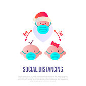 Santa Claus and children in surgical masks, social distancing. Protection from covid-19. Christmas in new normal. Flat gradient icon, vector illustration.