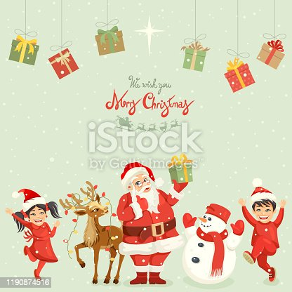 istock Santa Claus and Christmas friends 1190874516