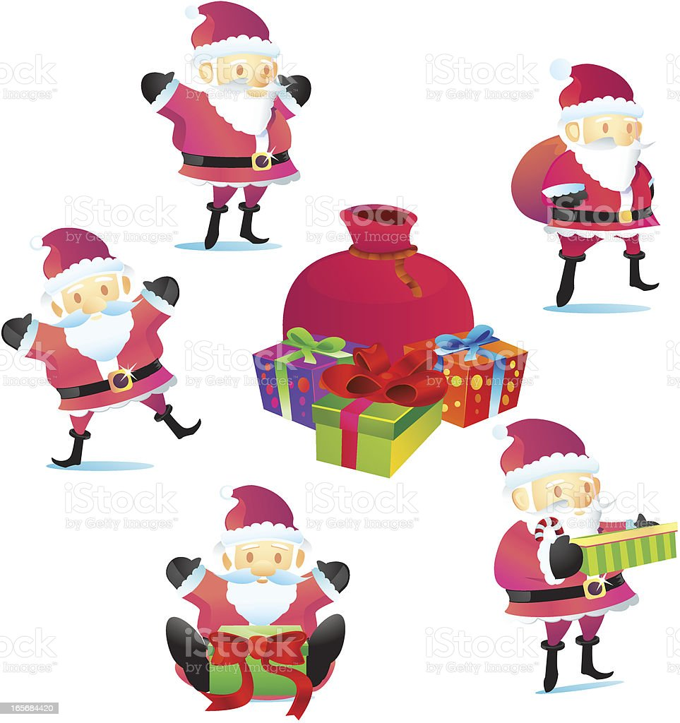 Santa Claus and Christmas Gifts vector art illustration