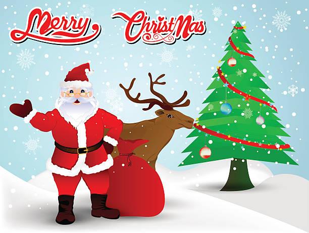 Père Noël et renne de Noël, fond de Noël, Arbre de Noël - Illustration vectorielle