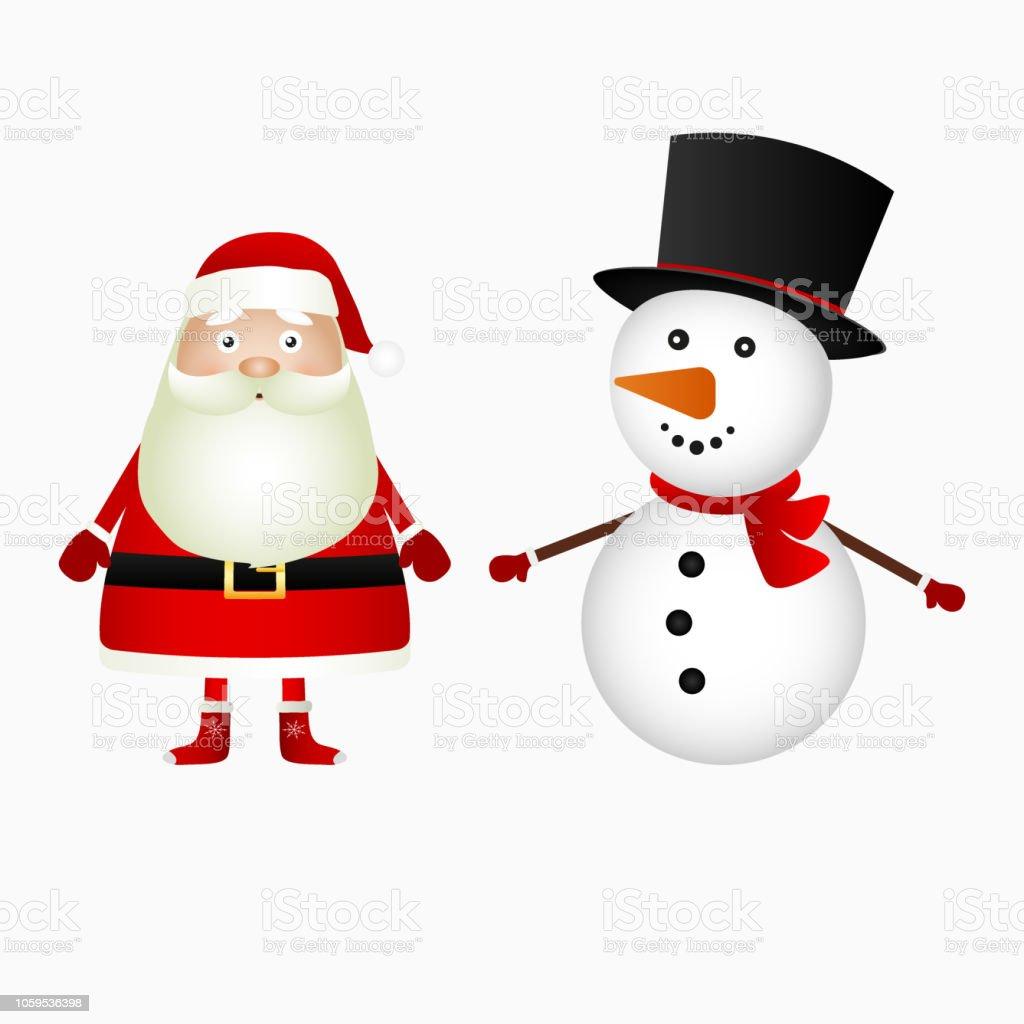Père Noël Et Noël Bonhomme De Neige Sur Fond Blanc