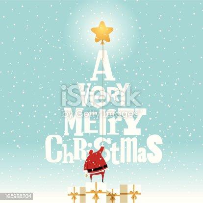 istock Santa Claus and Christmas tree present christmastree illustration vector 165968204