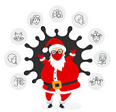 Santa Claus and Coronavirus 2019-nCoV symptoms infographic.