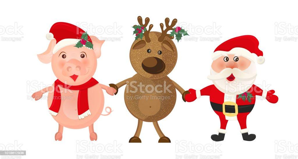Ilustración De Santa Claus Y Ciervos Sobre Fondo Blanco