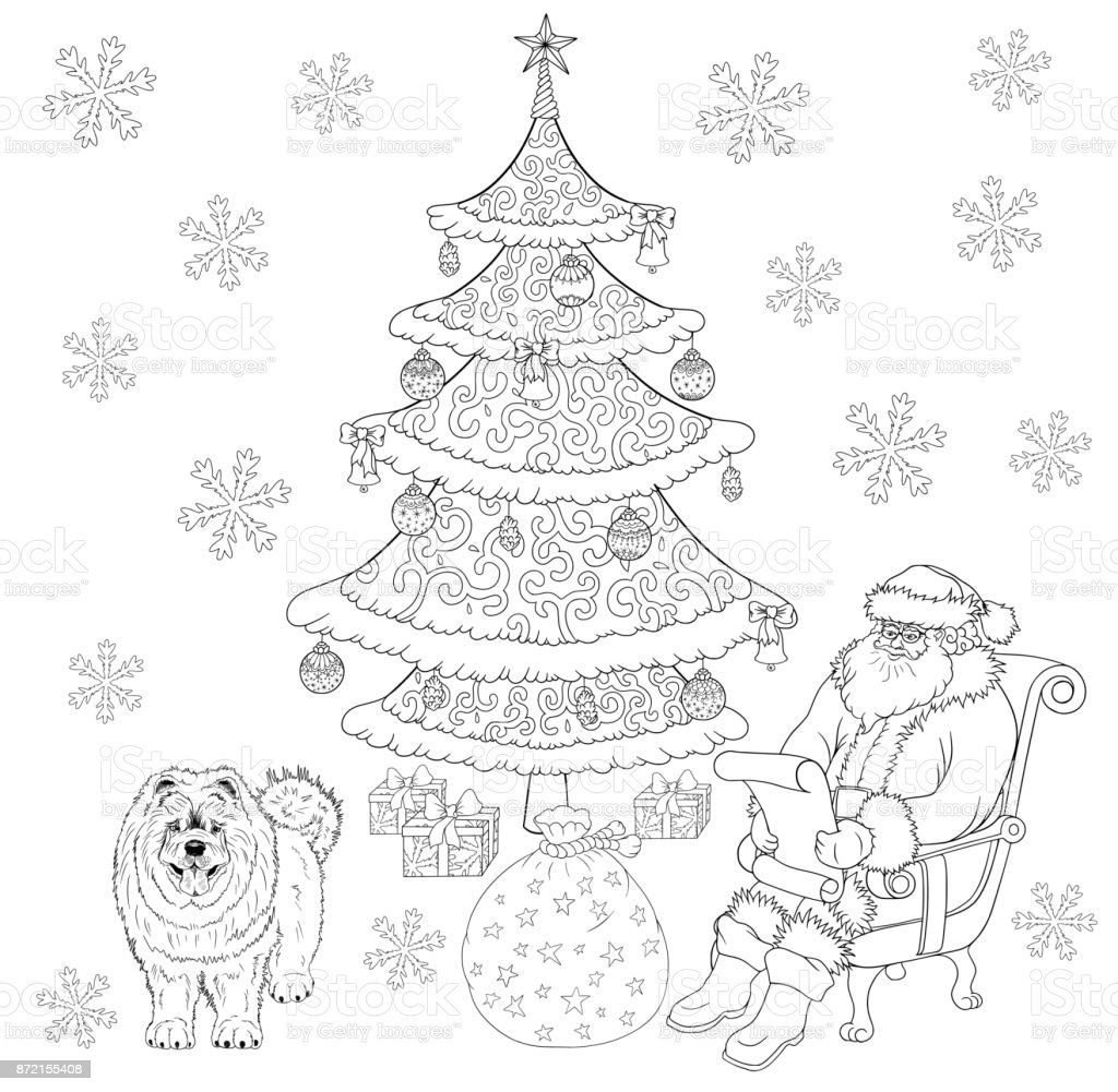 santa claus and dog are near christmas tree coloring book isolated on white royalty