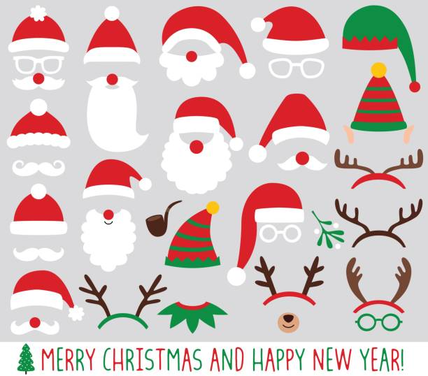 stockillustraties, clipart, cartoons en iconen met santa claus en elf hoeden, rendieren geweien, kerstmis partij vector set - kerstmanhoed