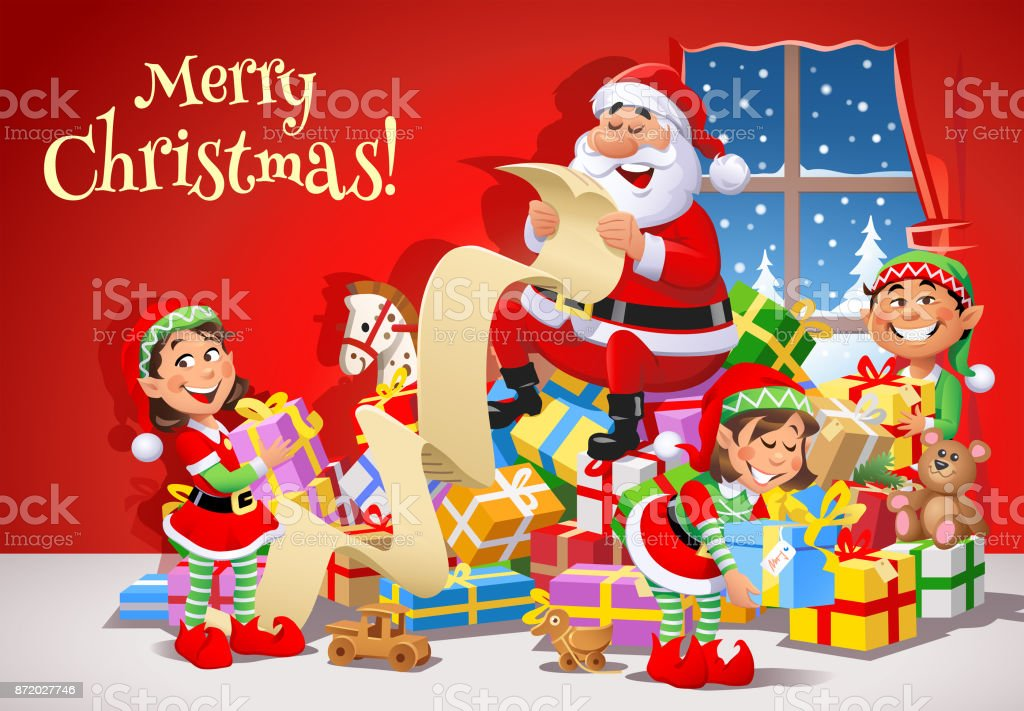 Santa Claus And Elves Preparing For Christmas vector art illustration