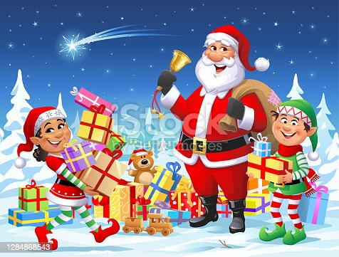 Santa Claus And Elves Wishing A Merry Christmas