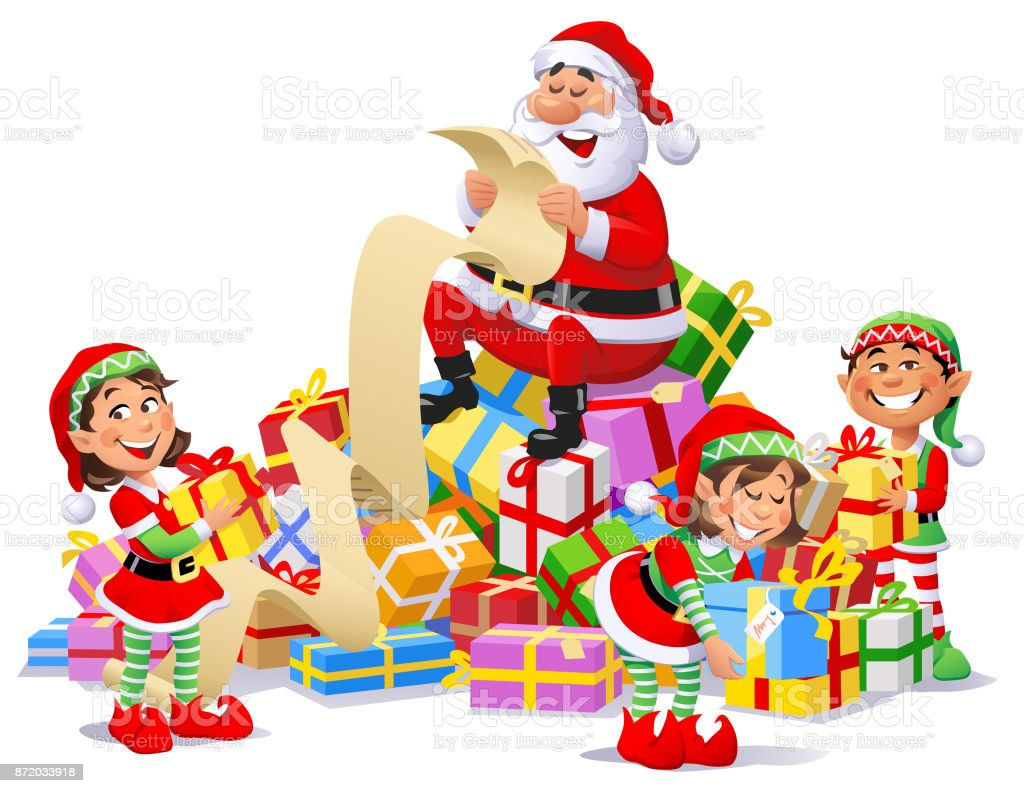 santa claus and elves with a pile of christmas presents royalty free santa claus and - Santa Claus Presents