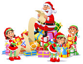 Vector Illustration of Santa Claus sitting on a big pile of Christmas presents reading a long wish list. Three cute Christmas elves are helping him.