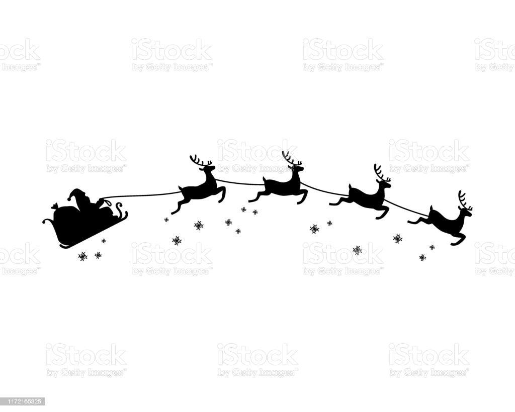 Babbo Natale e quattro renne con vettore illustrazione silhouette fiocco di neve. Tema natalizio. - arte vettoriale royalty-free di Adulto