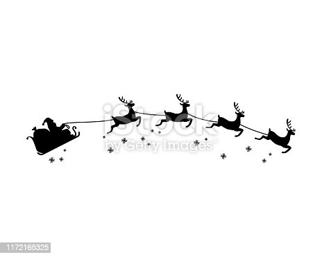 Santa Claus and four reindeer with snowflake silhouette illustration vector. Christmas theme.