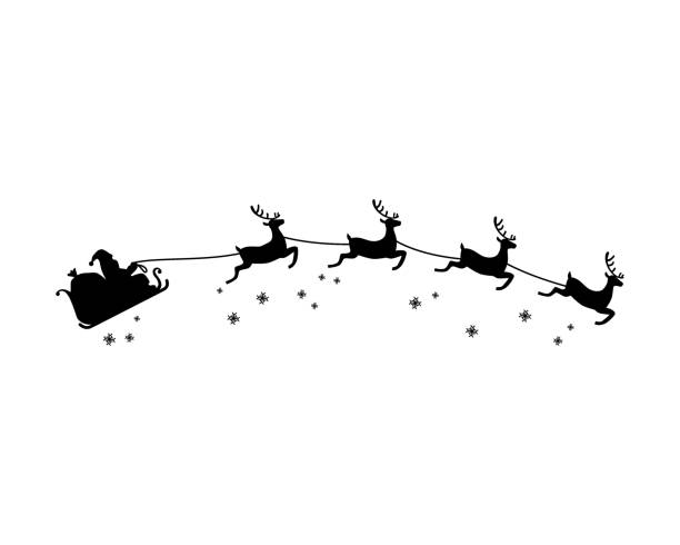 weihnachtsmann und vier reindeer mit schneeflocke silhouette illustration vektor. weihnachtsthema. - santa stock-grafiken, -clipart, -cartoons und -symbole