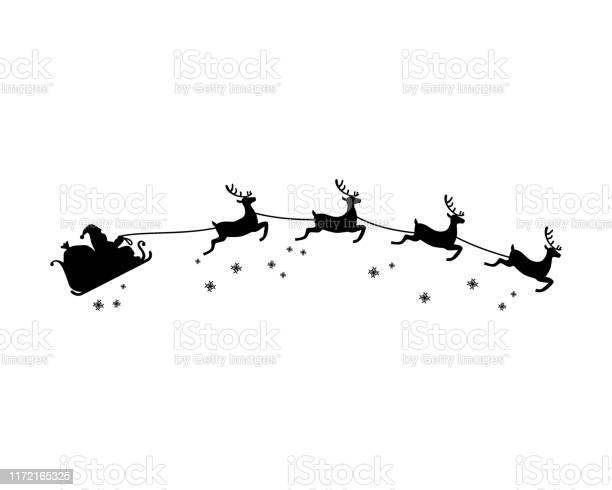 Babbo Natale E Quattro Renne Con Vettore Illustrazione Silhouette Fiocco Di Neve Tema Natalizio - Immagini vettoriali stock e altre immagini di Adulto