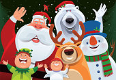 santa claus and friends cheering