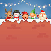 Santa Claus and friends on wall celebrate Christmas holidays