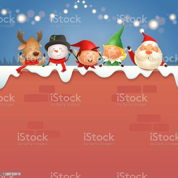 Santa claus and friends on wall celebrate christmas holidays vector id1188730916?b=1&k=6&m=1188730916&s=612x612&h=zb5cz6ccu hrgtoz1nzegr5b pltixonwu c2n72ri8=