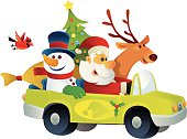 vector illustration of happy santa claus driving his friends.