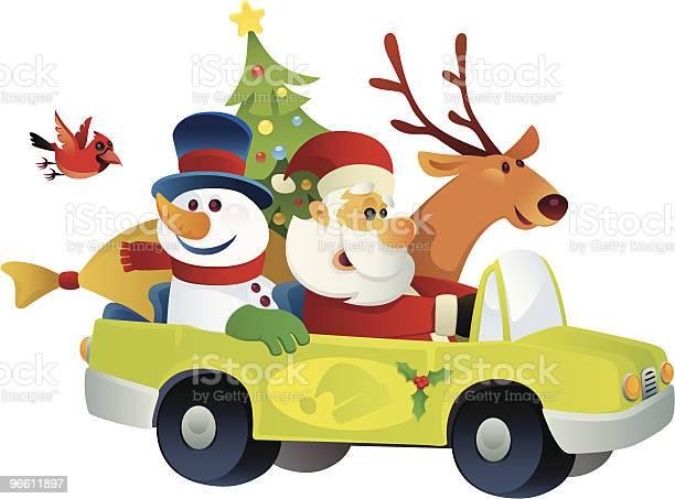 Santa Claus And Friends-vektorgrafik och fler bilder på Bil
