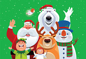 santa claus and friends waving and cheering