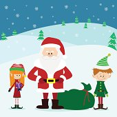Santa Claus and his Elves - Illustration