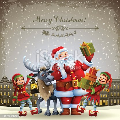 istock Santa Claus and his helpers 637803688