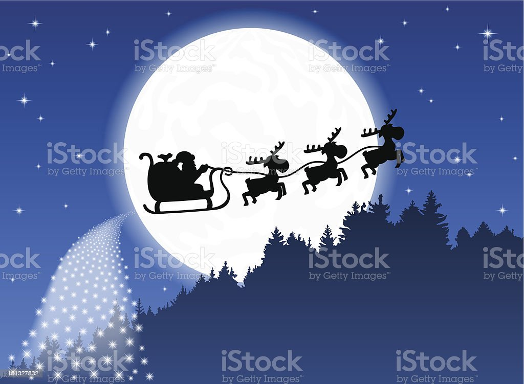 Santa Claus and his reindeer sleigh royalty-free stock vector art