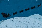 A silhouette Santa Claus flying in his sleigh being pulled by his reindeer. Santa & the reindeer and the background are on separate labeled layers.