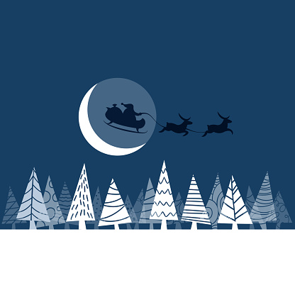 Santa Claus and his sleigh on Christmas moonlight