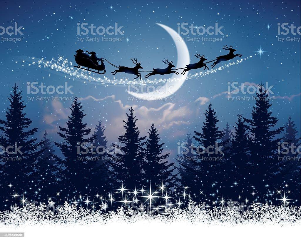Babbo Natale e la sua slitta sulla notte di Natale - arte vettoriale royalty-free di 2015