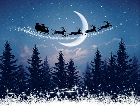 Santa Claus and his sleigh on Christmas night
