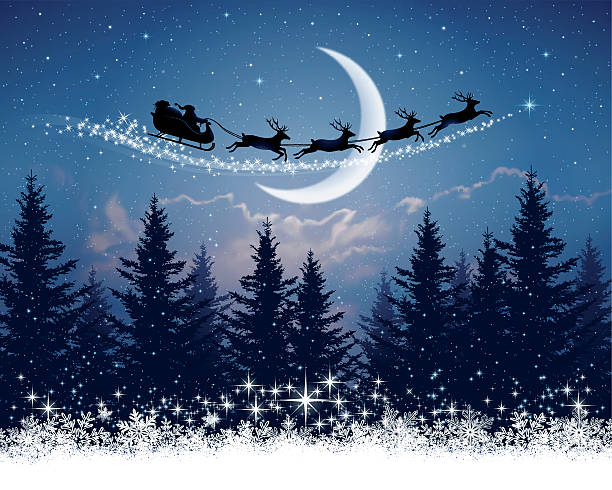bildbanksillustrationer, clip art samt tecknat material och ikoner med santa claus and his sleigh on christmas night - santa