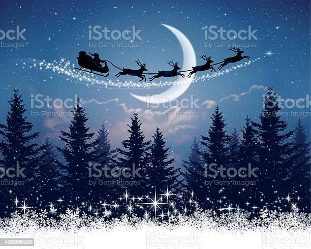 Babbo Natale E La Sua Slitta Sulla Notte Di Natale - Immagini vettoriali stock e altre immagini di 2015