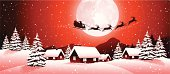 Vector illustration of winter landscape with Santa Claus and his sleigh.