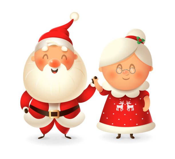 santa claus and his wife mrs claus celebrate holidays - vector illustration isolated on transparent background - old man smile silhouette stock illustrations